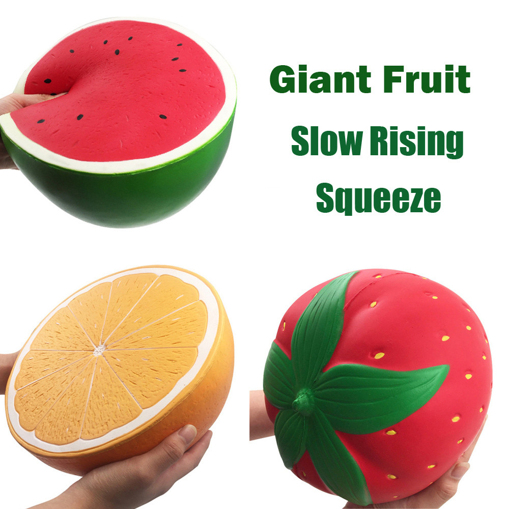 Kawaii Squishies Toys Watermelon Jumbo Strawberry Peach Orange Slow Rising Giant Fruit title=