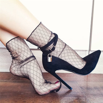 Onlymaker Women's 12CM Pointed Toe Black Double Ankle Strap With Lock High Heel Flock  Pumps Big Size US5~US15 цена 2017