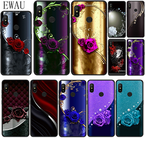 EWAU Crystal Rhinestone Flower print Silicone phone case for Xiaomi Redmi Note 4 4X 5 6 7 8 Pro 5A Prime 8T