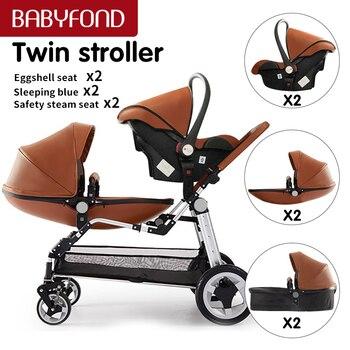 Babyfond bebek yenidoğan lüks ikizler arabası PU deri araba koltuğu bebek 3 in 1 yüksek peyzaj katlanır çift bebek arabası
