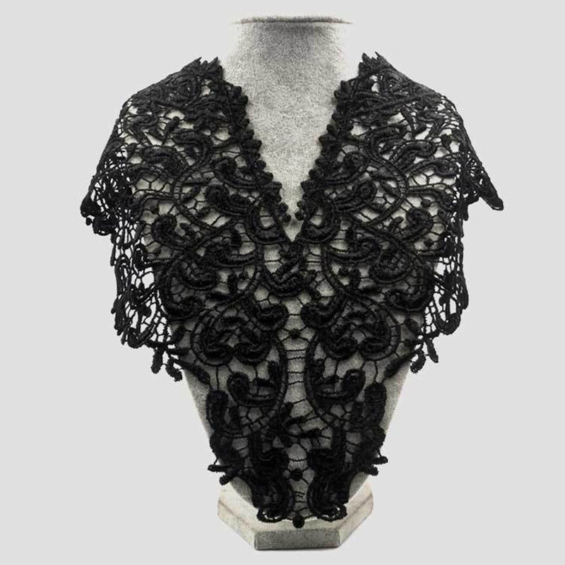 Elegant Lace Embroidered Fake Collar Hollow Front Back Collar V Style Neck NGD88