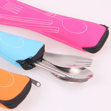 Utensils Dinnerware-Bag Cutlery-Case Flip-Cover Kitchen Portable Type Household Students