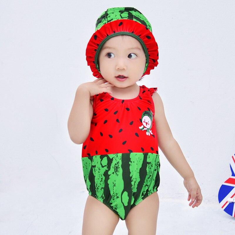 KID'S Swimwear Girls One-piece Swimming Trunks Set Infant Baby Cartoon Cute Quick-Dry Watermelon Modeling Swimwear