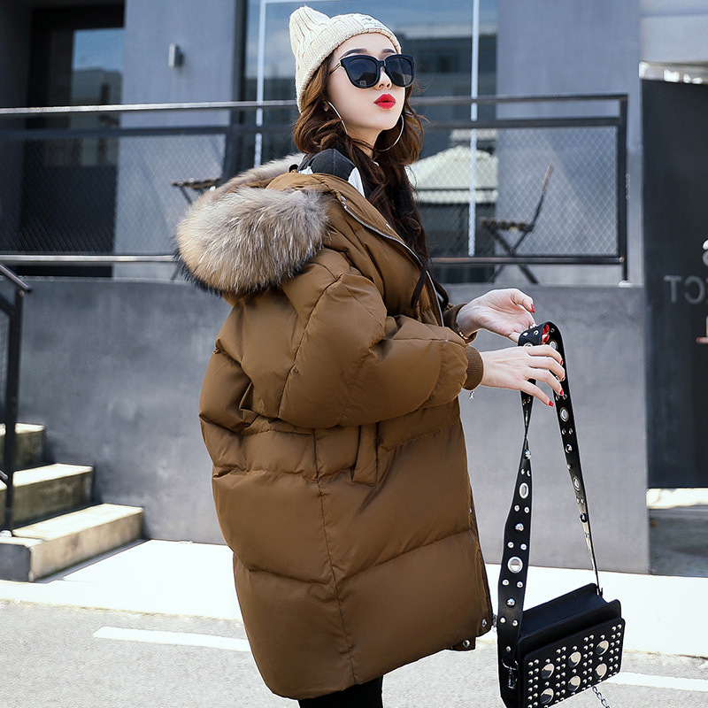 South Korea New Style Loose-Fit Cotton-padded Clothes Women's Large Version Of Mid-length Large Size Down Jacket Cotton-padded C