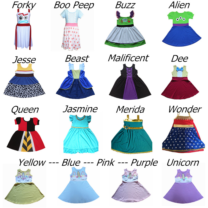 Girls Princess Dress Toy Story Buzz Alien Boo Peep Forky Soft Dress Birthday Cosply Unicorn Party Dress Beast Sundress For 1-10Y(China)