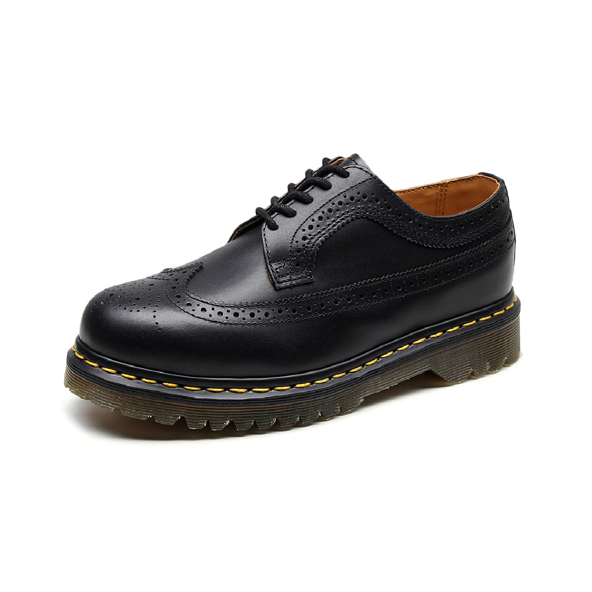 Women Men Couple Shoes Genuine Leather Round Toe Flats Heel Embroidered Brogue Boots Plus Size Dr Classic Martins Boots Martens