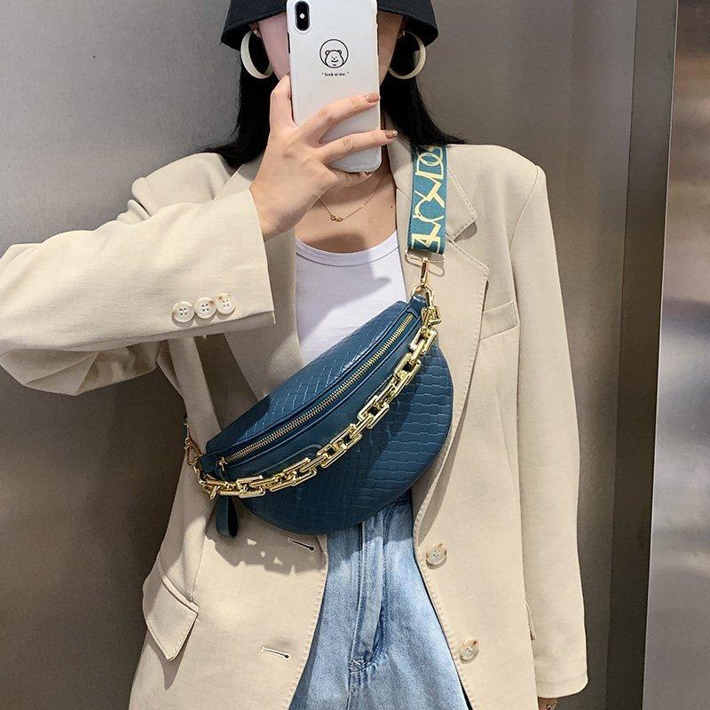 Thick Chain Women's Fanny Pack Plaid leather Waist Bag Shoulder Crossbody Chest Bags Luxury Designer Handbags Female Belt Bag