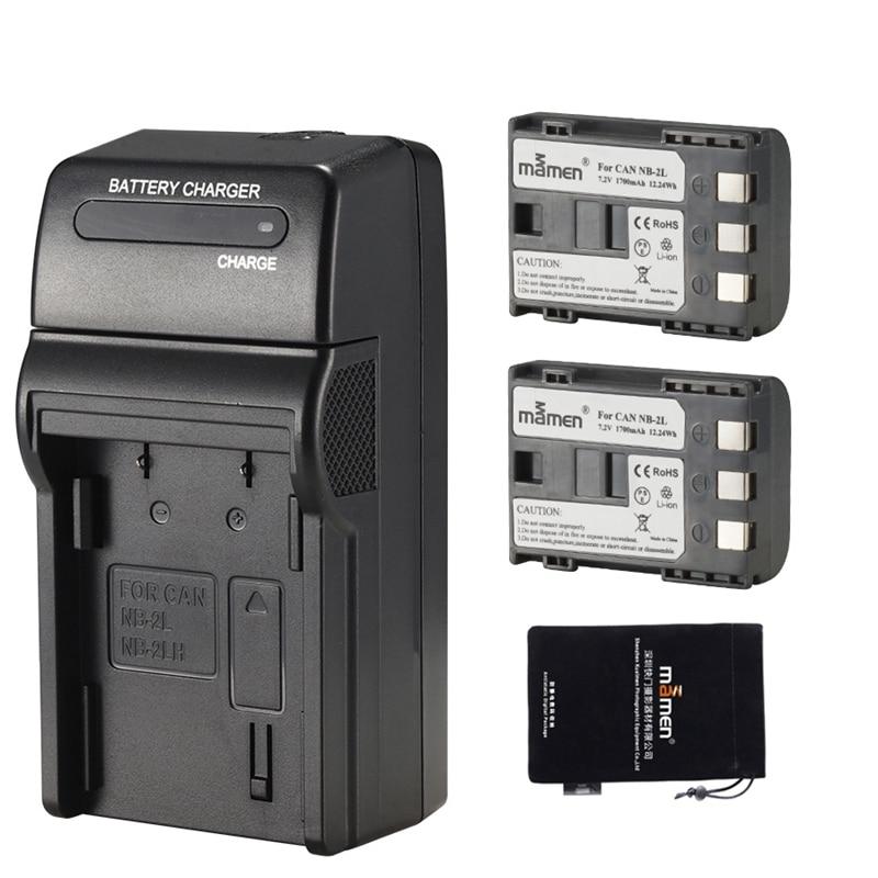 Mamen 1700MAh NB-2L NB 2L NB2L NB-2LH BP-2L5 Аккумулятор для цифровой камеры + одно зарядное устройство для CANON 350D 400D G7 G9 S30 S40 Z1 (U