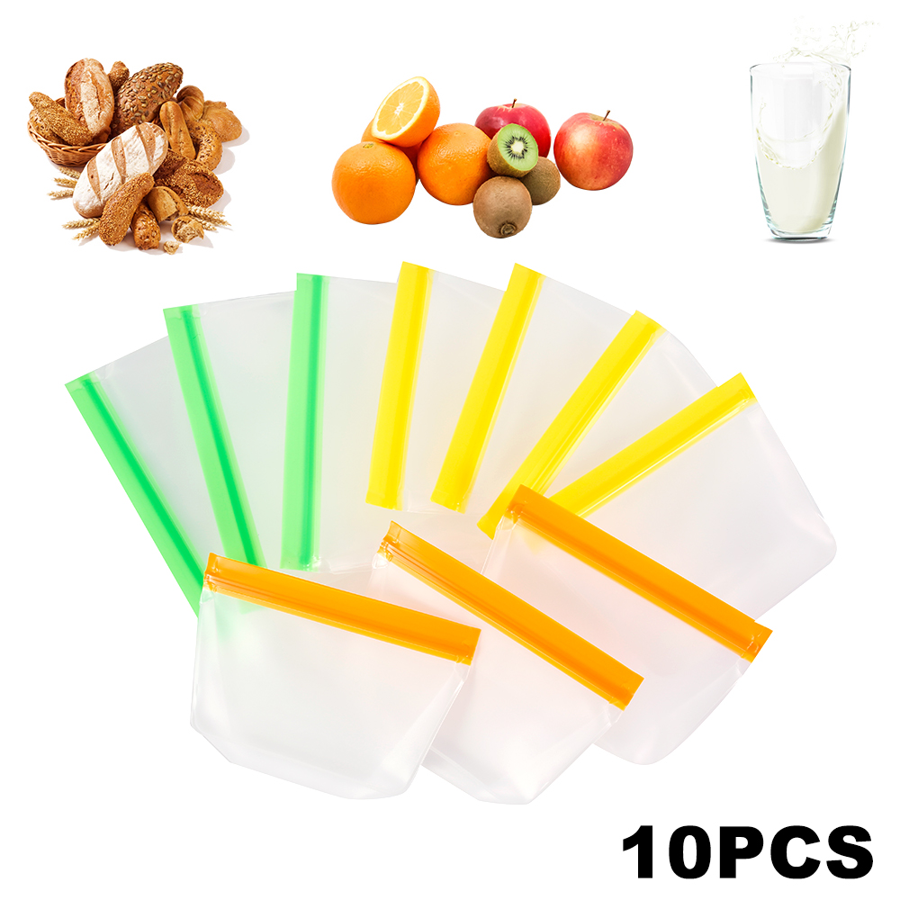10pcs Food Storage Bag Reusable PEVA Freezer Food Bags Leakproof Top Zero Waste Kitchen Organizer Refrigerator Fresh Bags image