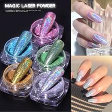 1Box Laser Glitter decoration Powder Holographic Gradient Glitter Dipping Paillette Decor Sequins Dazzling Nail Art Dust