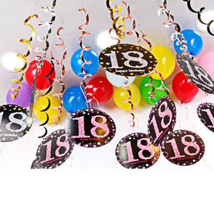 Image 5 - 6 個 pvc スパイラルペンダント 18 21 30 40 50 60 70 歳多機能誕生日パーティーの装飾スパイラル装飾品