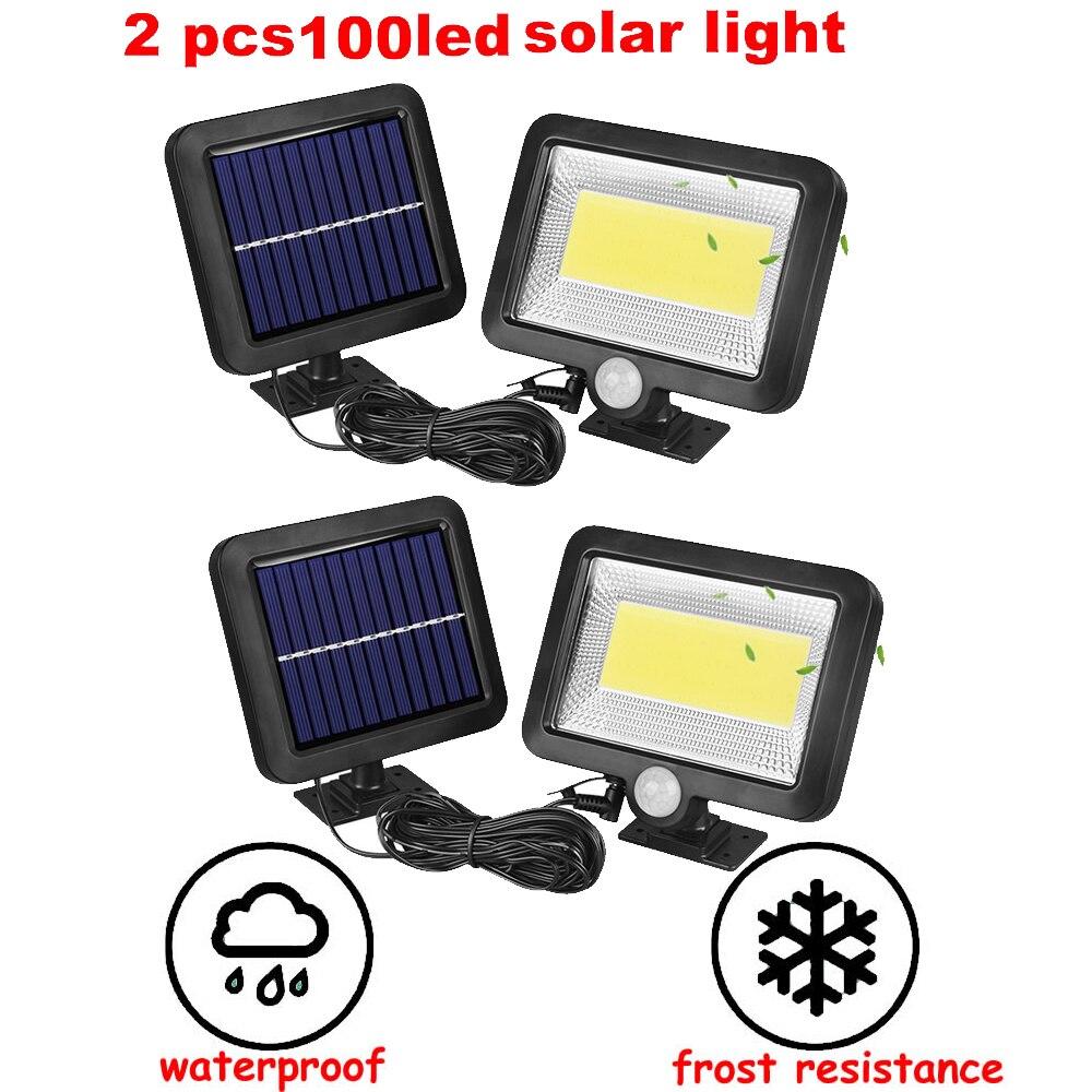 2/4pcs Upgraded Solar LED Light Solar Powered 100/56/30 LEDs Four Modes Waterproof PIR Motion Sensor Lamp Outdoor Fence Garden P