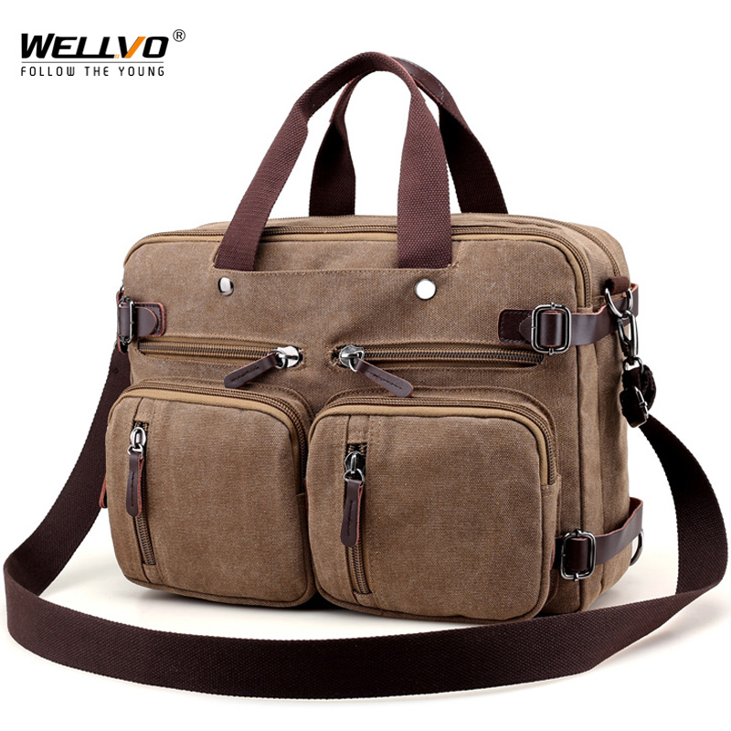 Men Canvas Briefcase Business Laptop Handbag Large Messenger Shoulder Bag Big Casual Male Tote Back Bags Travel Suitcase XA162ZC