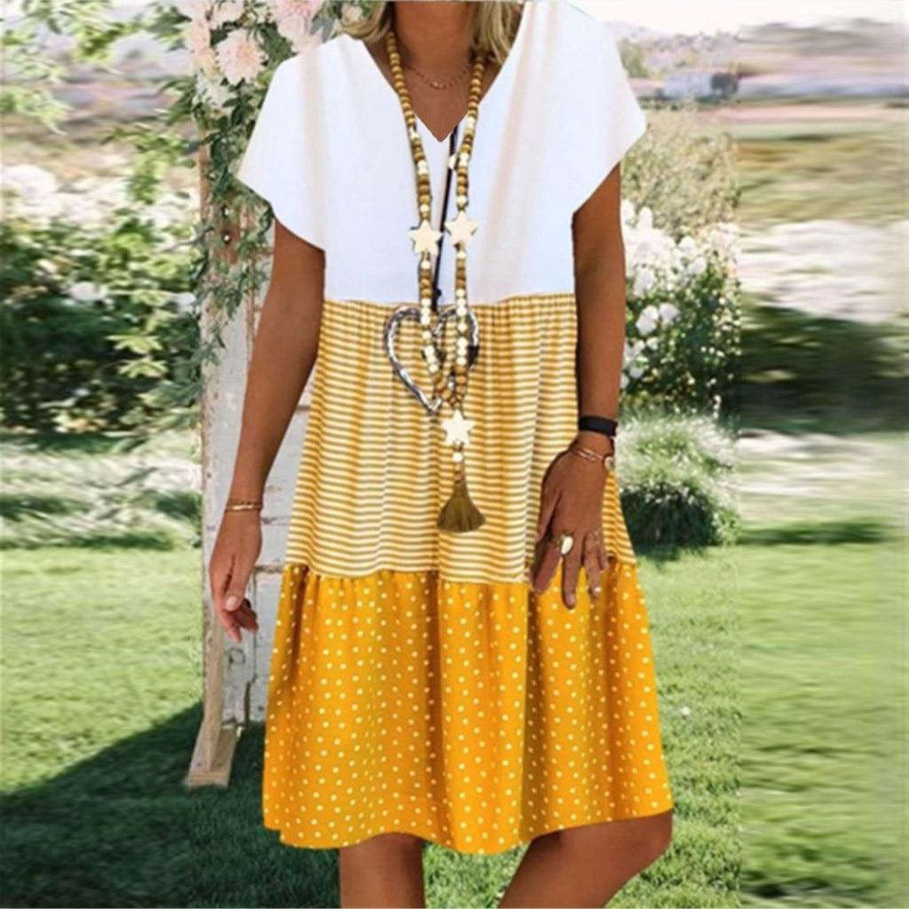 Vintage V neck Striped Dots Print Party Dress Women Spring Summer Short Sleeve Dress Elegant Plus