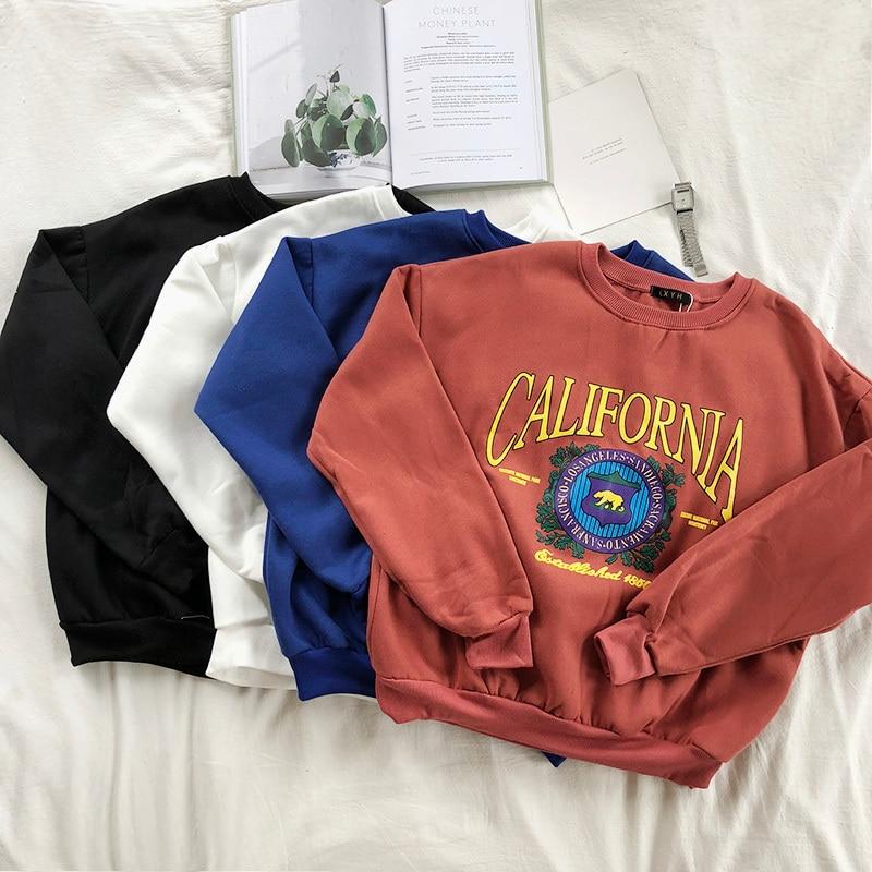 Mooirue Women Loose Sweatshirt Restore School Thickening Warm Printing Round Neck Solid Hoodie Sweatshirt Feminine Hoodies