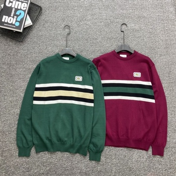 Lacoste New Pullover Mens Sweater O-neck Patchwork Long Sleeve Warm Slim Sweaters Men Casual Fashion Clothing