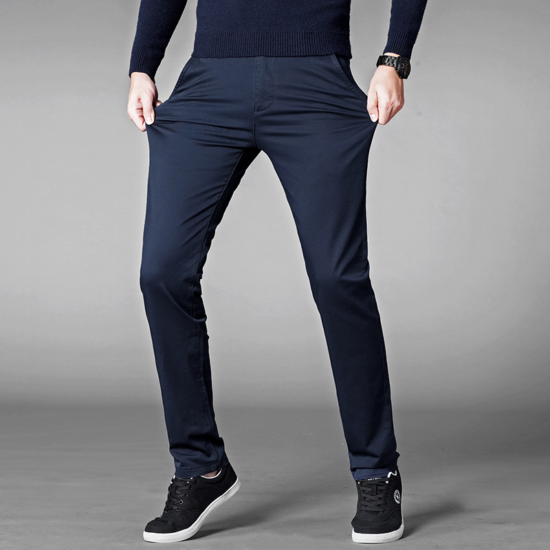 Casual Pants Men Classic Style 2019 New Business Elastic Cotton Slim Fit Trousers Male Gray Khaki Plus Size 42 44 46 SA-8