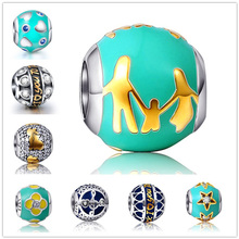 Fit Original Pandora Bracelet Silver 925 Loving Family color Enamel Charms Beads with Bule CZ DIY Jewelry Making Gifts