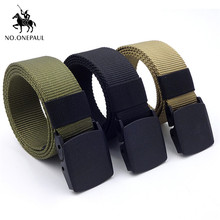 NO.ONEPAUL Mens casual fashion tactical belt alloy automatic buckle youth students outdoor sports training free shipping