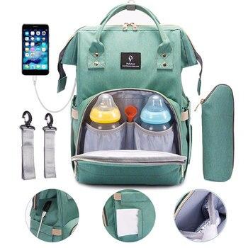 Bebek bezi çantası USB arayüzü bebek çantaları büyük seyahat sırt çantası için anne hemşirelik çanta su geçirmez bezi çanta seti anne annelik çantası