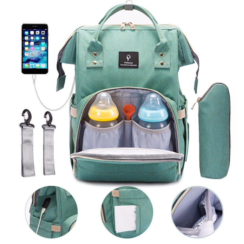 Diaper Bag USB Interface Baby Bags Large Travel Backpack For Mom  Nursing Handbag Waterproof Nappy Bag Kit Mommy Maternity Bag