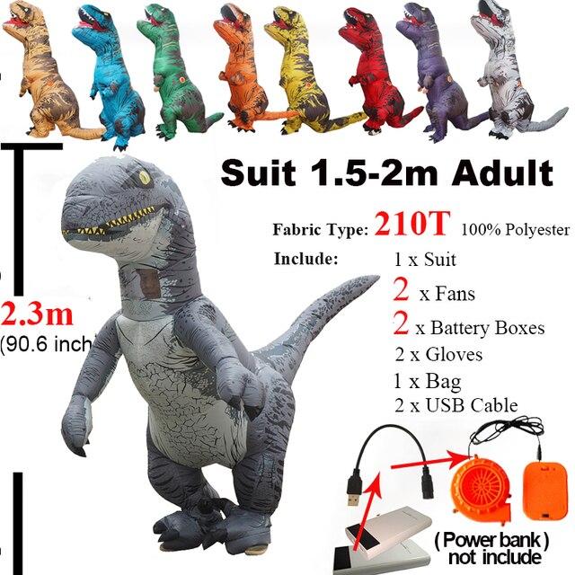 יורה העולם 2 Velociraptor תלבושות מתנפח T רקס דינוזאור תלבושות ליל כל הקדושים קוספליי למבוגרים פנטזיה Raptor קמע תלבושות
