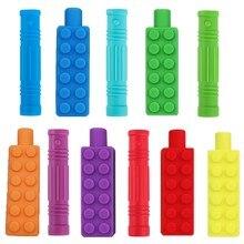 1pc crianças silicone mordedor mastigável lápis topper mordedor mordedor tampa de lápis sensorial brinquedo para crianças criança autismo adhd mastigar mordedor