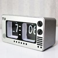 Retro Industrial Style Silver Color TV Automatic Flip Clock Bedroom Decoration