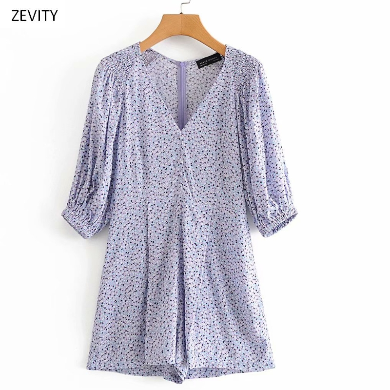 New 2020 Women Elegant V Neck Shoulder Pleated Print Playsuits Ladies Puff Sleeve Casual Slim Conjoined Shorts Chic Siamese P818