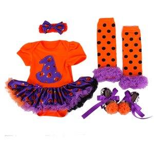 Image 5 - 4 Uds. De ropa para niñas recién nacidas, mono, traje de calabaza, conjunto de Calavera, ropa de Halloween, para fiesta, Cosplay