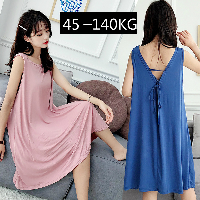 Modal Nightgowns Plus Size Sleepshirts Summer Night Dress Casual Home Clothing Round Neck Sexy Backless Sleepwear