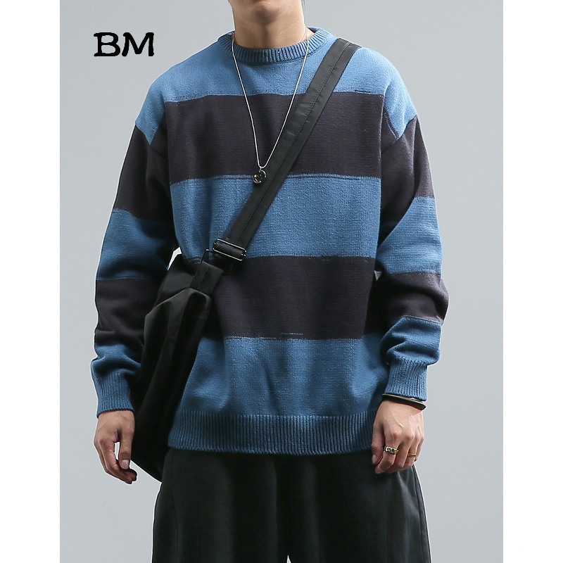 Autumn Winter Striped Contrast Round Neck Sweater Men Loose Japanese Harajuku Sweater Pullover Hip Hop Fashions Korean Clothes