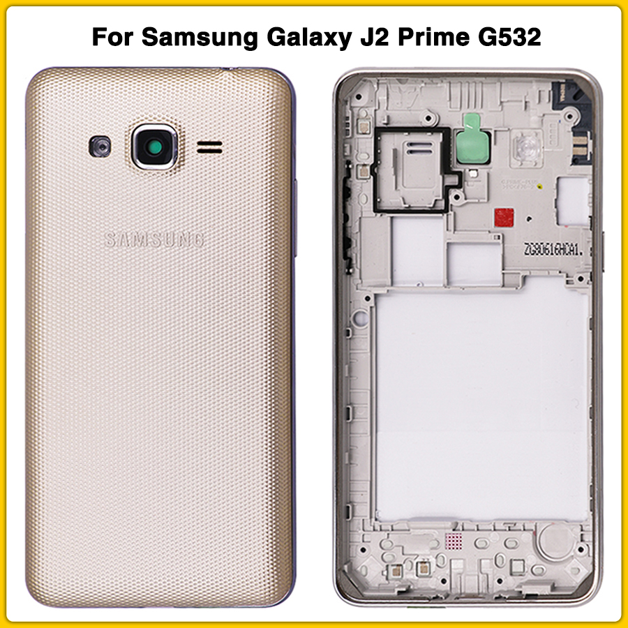 New G532 Rear Housing Case For Samsung Galaxy J2 Prime G532 G532F Mid Bezel Middle Frame + Battery Back Cover Battery Door