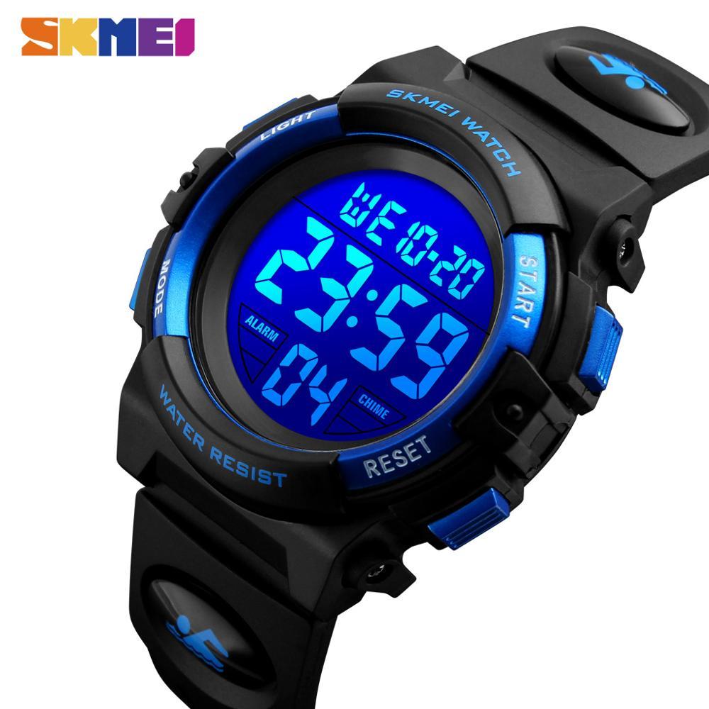 SKMEI dzieci LED cyfrowy zegarek elektroniczny chronograf zegar Sport zegarki 5Bar wodoodporne dzieci zegarki dla chłopców dziewcząt
