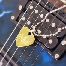 Men Women Guitar Pick Necklace with Adjustable Chain Stainless Steel Music