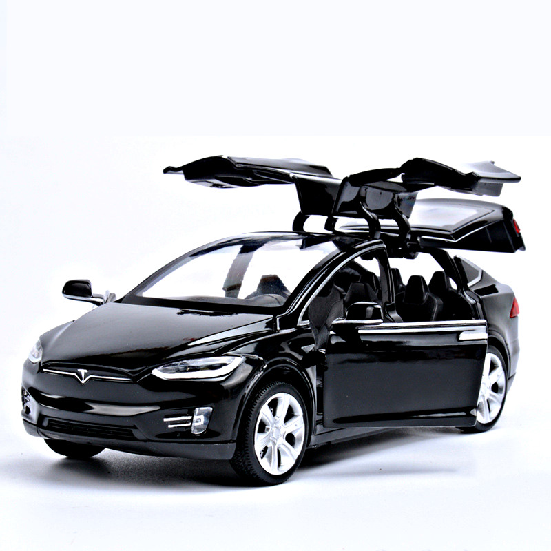 1:32 Tesla Model X90 Alloy Vehicle Diecast Pull Back Cars Toys for Boy Collection