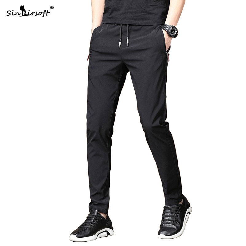 Men's Autumn Casual Sport Pants Men Elastic Nine Pants Small Feet Joggers Pants Drawstring Beam Pants Versatile Trousers Homme