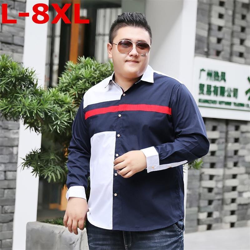 8XL 7XL PLUS SIZE Men's Classic Striped Shirt Long Sleeve Dress Shirt Men Business Formal Shirts Mens Clothing Camisa Masculina