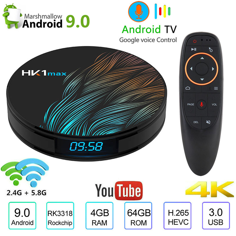 HK1 Max Smart TV Box Android 9.0 4GB 64GB Quad-Core 4K 5.8G Wifi Google Voice Assistant Netflix Youtube iptv Media Player PK H96(China)
