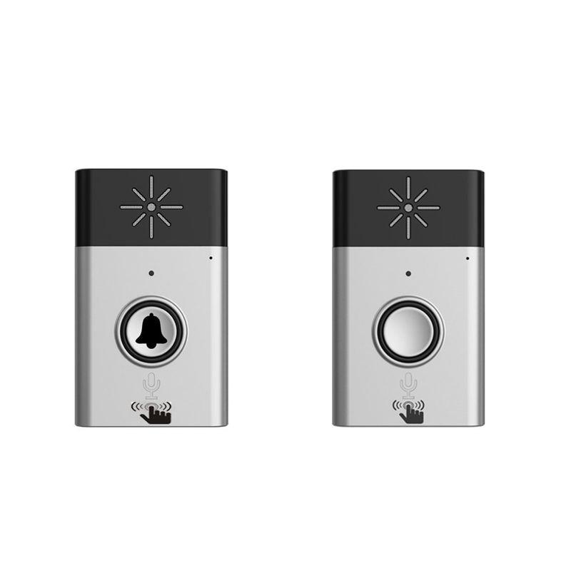 Wireless Voice Intercom Doorbell Mobile Interphone Indoor/Outdoor Chime Portable EU Plug(Grey)