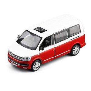 Image 2 - 1:32 아연 합금 버스 폭스 바겐 Multivan T6 밴 합금 장난감 자동차 다이 캐스트 MPV 모델 사운드 라이트 당겨 뒤로 어린이 선물 소년 장난감