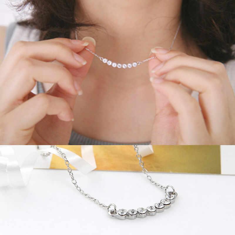 2018 najnowsze kobiece moda posrebrzane kryształowy naszyjnik uśmiech mały wisiorek w kształcie gwiazdy naszyjnik biżuteria hurtowych CND237