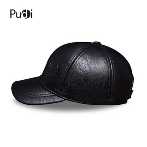 Image 4 - HL125 Spring autumn genuine leather baseball cap men brand new warm real cow leather caps hats