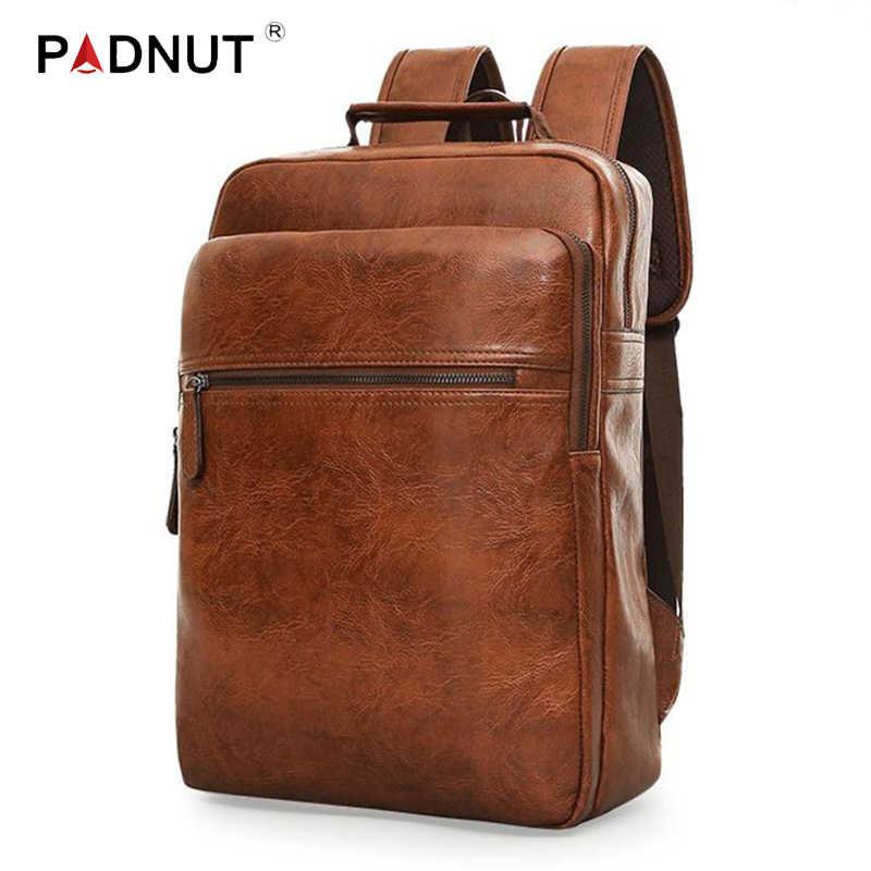 Leather Backpack For Men Laptop Business Back Pack Male Travel Waterproof Notebook Bags School Girls Boys Fashion Student PU Bag