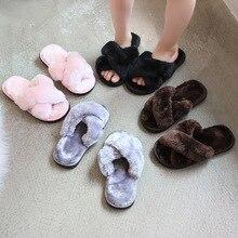Зимние Модные Детские домашние тапочки; теплая обувь с искусственным мехом; обувь без шнуровки на плоской подошве для девочек; детские меховые Вьетнамки; домашние Нескользящие тапочки