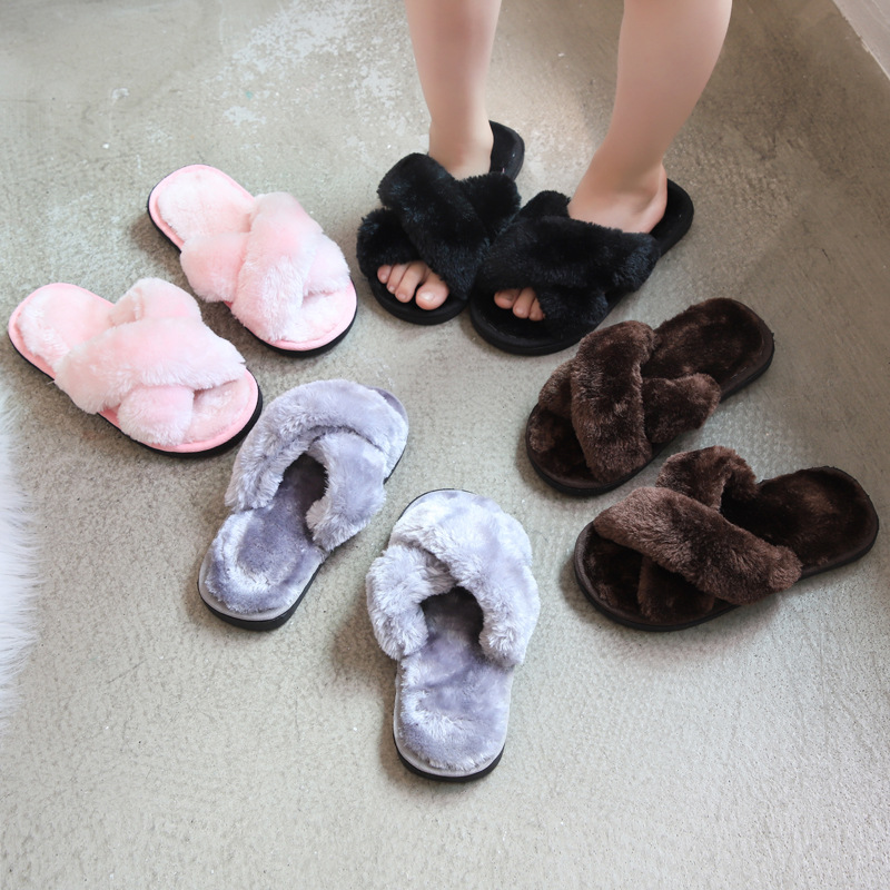Winter Fashion Kids Home Slippers Faux Fur Warm Shoes Girls Slip On Flats Female Children Fur Flip Flops Indoor Non-slip Slippe
