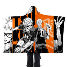 Fashion Cool Indoor Home Poncho Haikyuu!! Kawaii Japan Anime Boys Girls Blanket Hoodie Unisex Lazy Blanket Flannel Cape