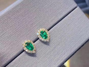 925 sterling silver real Natural green Emerald Stud Earrings fine Jewelry gift women wedding plant new 3*5mm  jce0305889agml