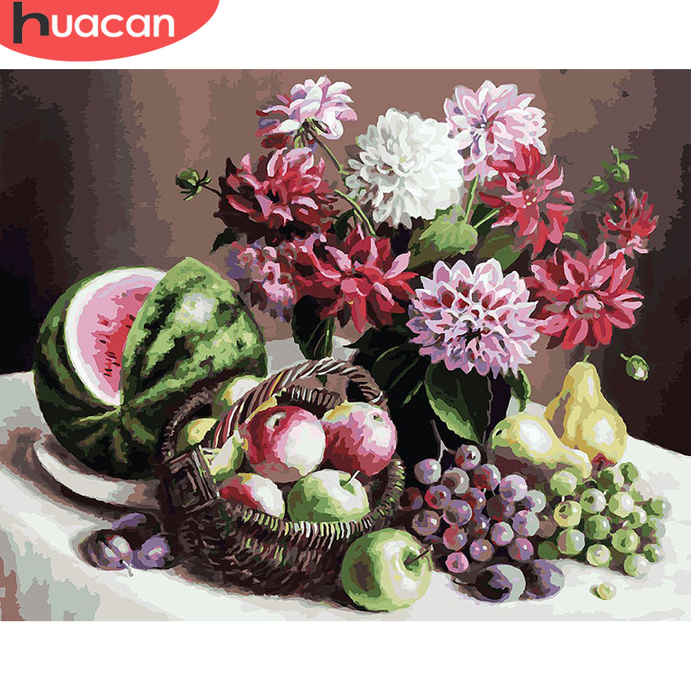 HUACAN Painting By Number Fruit HandPainted Kits Drawing Canvas DIY Oil Pictures Flower Home Decoration Art Gift