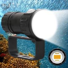 COB Diving Video Light Underwater Photography Spot light 300W Diving Flashlight  IPX8 waterproof 200M White Blue Red Use 18650 цены онлайн